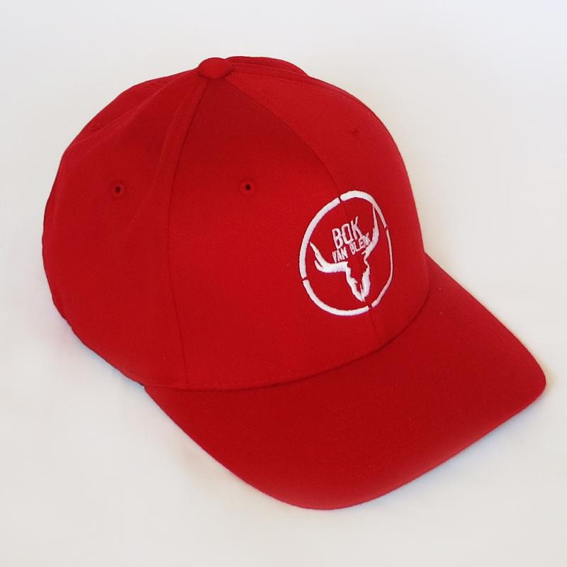 Red Baseball Cap White Logo Middle Side